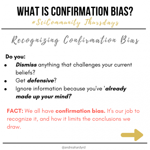 Image of @andreahardyrd Instagram post about confirmation bias