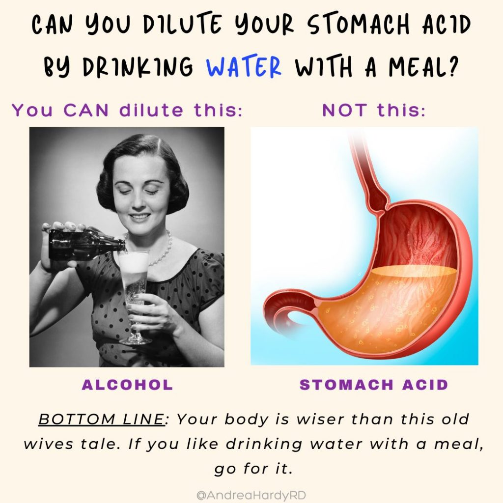 Image of @andreahardyrd Instagram post about whether you can dilute stomach acid by drinking water with a meal