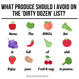 Image of @andreahardyrd Instagram post about which produce to avoid on the dirty dozen list