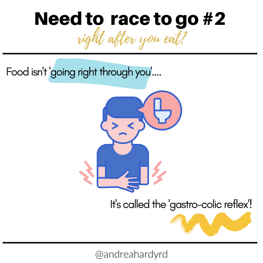 Image of @andreahardyrd Instagram post about gastrocolic reflex