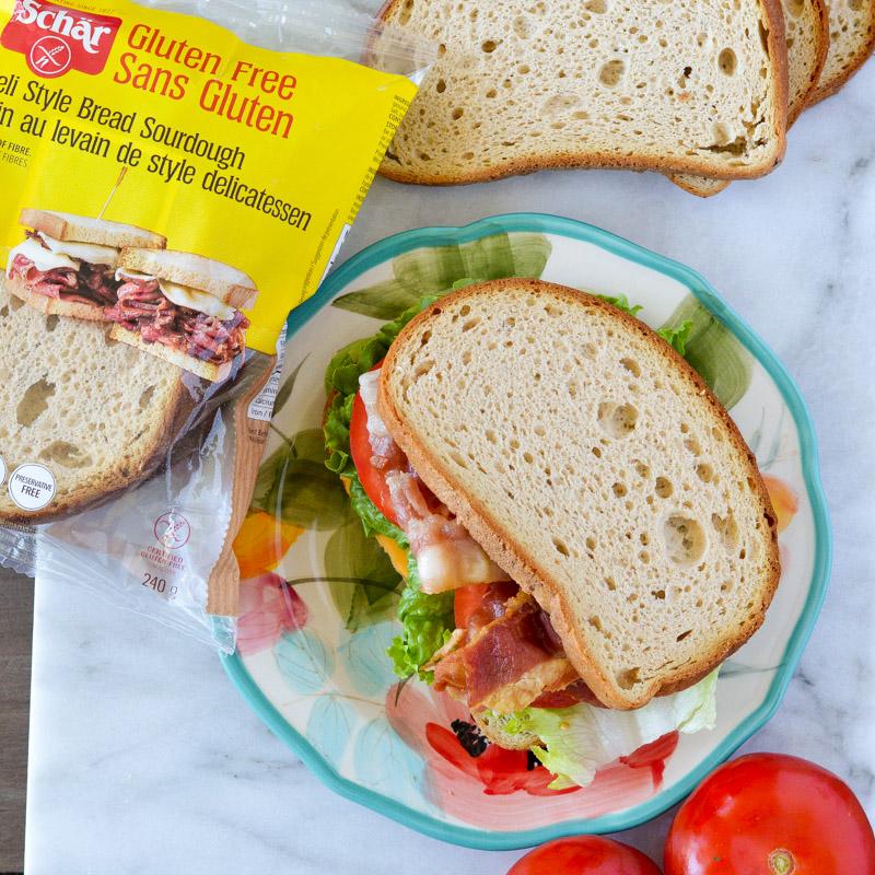 Image of @andreahardyrd Instagram post about schar brand gluten-free sourdough bread