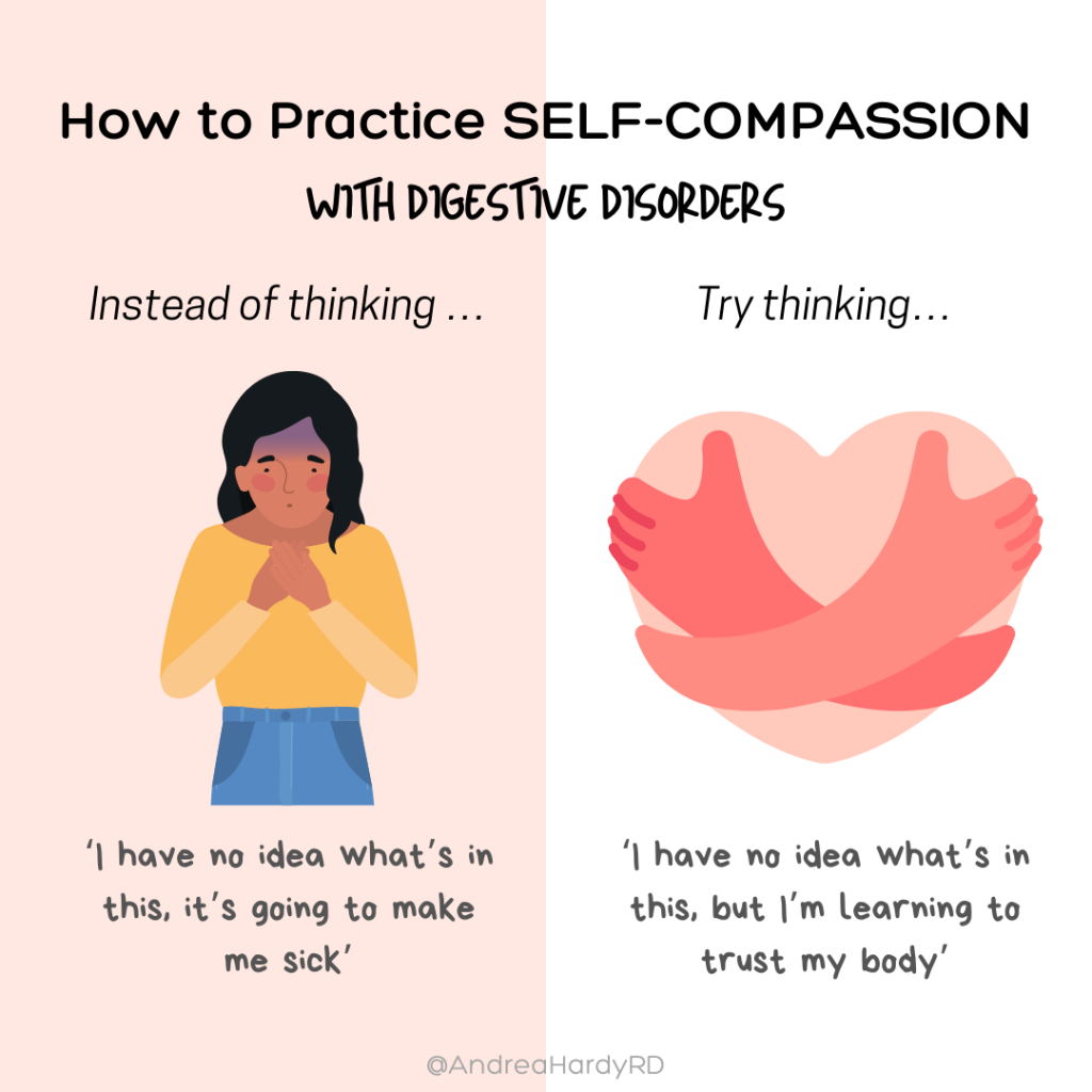 Image of @andreahardyrd Instagram post about how to practice self-compassion with digestive disorders