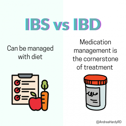 Image of @andreahardyrd Instagram post about the difference between IBS and IBD