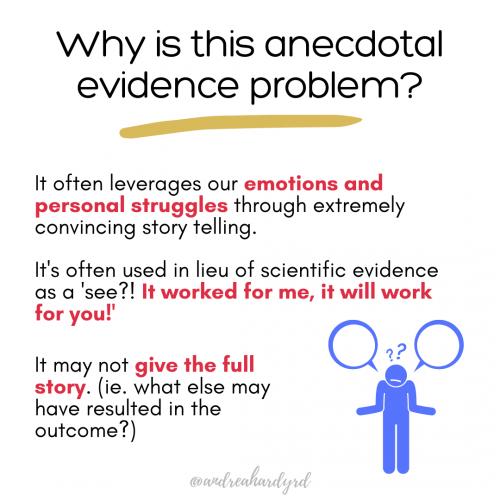 Image of @andreahardyrd Instagram post about anecdotal evidence
