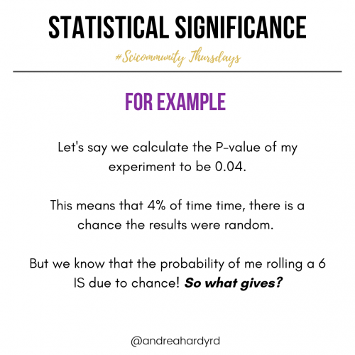 Image of @andreahardyrd Instagram post about statistical significance