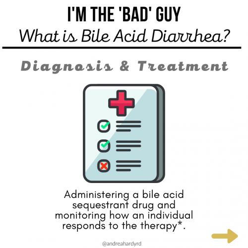 Image of @andreahardyrd Instagram post about bile acid diarrhea